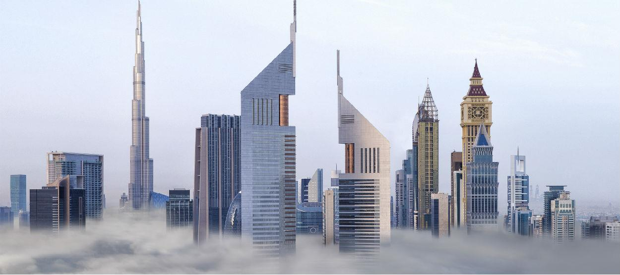 jumeirah emirates towers exterior clouds hero
